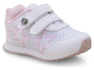 Tênis Fem Infantil Klin 453.039 Branco/rosa - Tamanho Médio