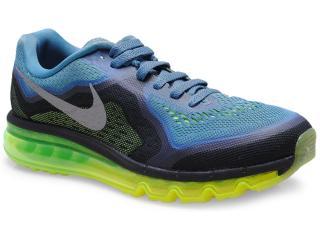 Tênis Masculino Nike 621077-403 Air Max 2014 Azul/preto/limão - Tamanho Médio
