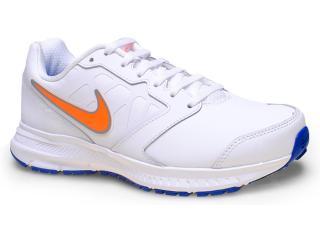 Tênis Masculino Nike 684654-101 Downshifter 6 Lea Branco/laranja/azul - Tamanho Médio