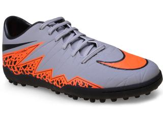 Tênis Masculino Nike 749899-080 Hypervenom Phelon ii tf  Cinza/laranja - Tamanho Médio