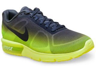 Tênis Masculino Nike 719912-701 Air Max Sequent  Chumbo/limão - Tamanho Médio