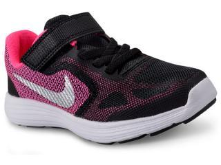 Tênis Fem Infantil Nike 819417-001 Revolution 3 Psv Preto rosa 2ea89db0f7366