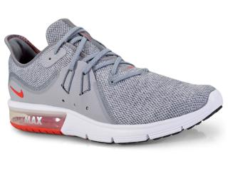 Tênis Masculino Nike 921694-060 Air Max Sequent 3 Cinza vermelho e6108a94215fa