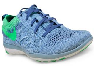 Tênis Feminino Nike 844817-402 w Free tr Focus Flyknit  Azul Claro/verde - Tamanho Médio