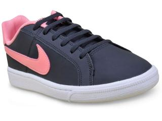 Tênis Fem Infantil Nike 833654-002  Court Royale Preto/rosa - Tamanho Médio