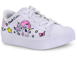 Tênis Fem Infantil Pink Cats W9745 Branco - Tamanho Médio