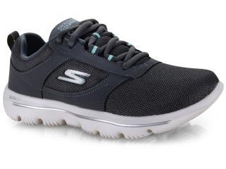 Tênis Feminino Skechers 15734 go Walk Evolution Ultra Grafite/branco - Tamanho Médio