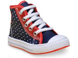Tênis Fem Infantil Star Chic 4230  Jeans Poa/vermelho - Tamanho Médio