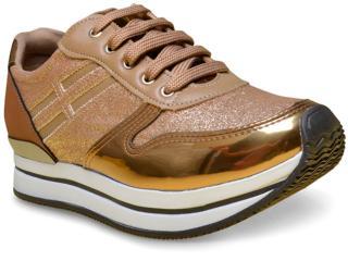 Tênis Feminino Via Marte 17-5005 Bronze/dourado - Tamanho Médio