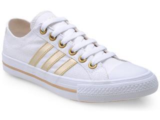 Tênis Feminino Adidas F39142 Vlneo 3 Stripes lo dw Branco/dourado - Tamanho Médio