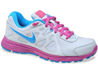 Tênis Feminino 554901-012 Wmns Nike Revolution 2 Cinza/violeta/azul - Tamanho Médio