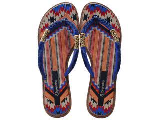 Tamanco Feminino Grendene 16650 Grendha Tribal Azul/marrom - Tamanho Médio