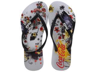 Chinelo Feminino Coca-cola Shoes Cc0361 Branco/preto - Tamanho Médio
