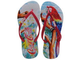 Chinelo Feminino Coca-cola Shoes Cc0346 Branco/vermelho - Tamanho Médio