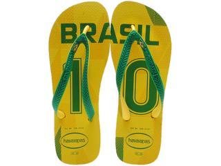Chinelo Masculino Havaianas Teams ii Brasil Amarelo/verde - Tamanho Médio