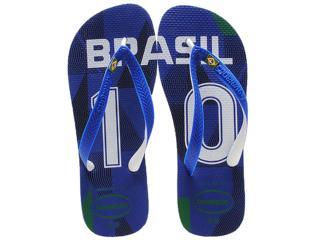 Chinelo Masculino Havaianas Teams ii Brasil Azul - Tamanho Médio