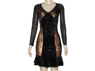 Vestido Feminino Index 13.02.000285 Preto/bronze - Tamanho Médio