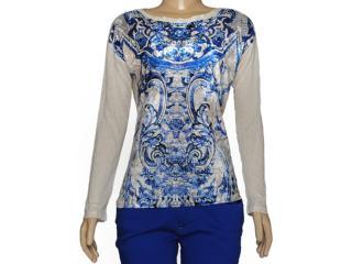 Blusa Feminina Index 05.06.000223 Estampado Cru/azul - Tamanho Médio