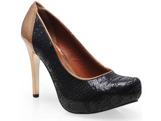Sapato Feminino Tanara 5603 Preto/ouro Velho - Tamanho Médio
