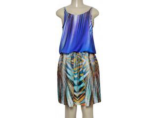 Vestido Feminino Borda Barroca 519454 Estampado Azul/verde - Tamanho Médio