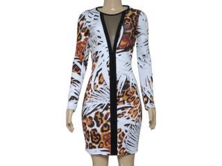 Vestido Feminino Coca-cola Clothing 443201822 Branco Estampado Onça - Tamanho Médio