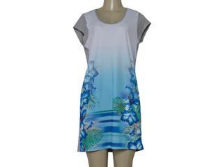 Vestido Feminino Dopping 018068519 Branco/azul/mescla - Tamanho Médio