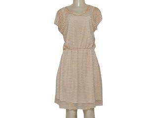 Vestido Feminino Dopping 018065535 Off White Listrado Dourado - Tamanho Médio