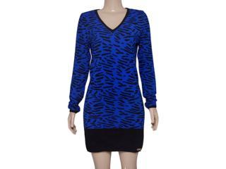Vestido Feminino Index 13.02.000430 Azul Estampado Preto - Tamanho Médio