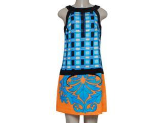 Vestido Feminino Intuição 134332 Azul/preto/laranja - Tamanho Médio