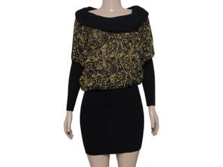 Vestido Feminino Intuição 133213 Preto/ouro - Tamanho Médio