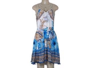Vestido Feminino Intuição 152529 1925 Branco/azul/bege - Tamanho Médio