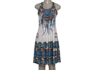Vestido Feminino Intuição 152623 Bege/marrom/azul - Tamanho Médio