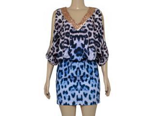 Vestido Feminino Intuição 142211 Onca Azul - Tamanho Médio