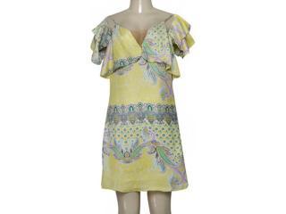 Vestido Feminino Lado Avesso 99577 Amarelo Estampada - Tamanho Médio