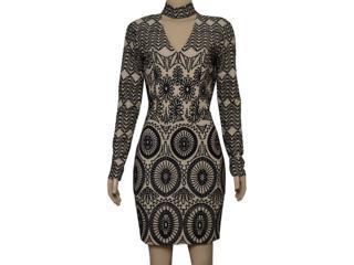 Vestido Feminino Lado Avesso 101629 Nude/preto - Tamanho Médio