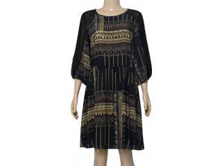Vestido Feminino Lez a Lez L9389 Preto Estampado - Tamanho Médio