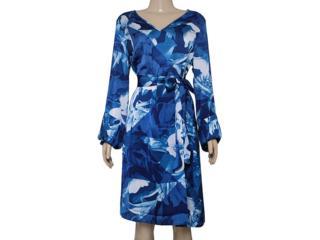 Vestido Feminino Maria Valentina 103149 Estampado Azul - Tamanho Médio