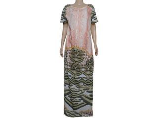 Vestido Feminino Maria Valentina 103339 Estampado Off White/laranja - Tamanho Médio
