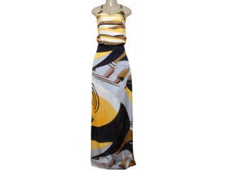 Vestido Feminino Maria Valentina 103532 Estampado Amarelo - Tamanho Médio