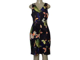 Vestido Feminino Maria Valentina 104608 Estampado Preto - Tamanho Médio