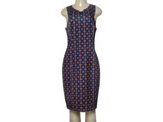 Vestido Feminino Maria Valentina 103786 Estampado Azul/laranja - Tamanho Médio