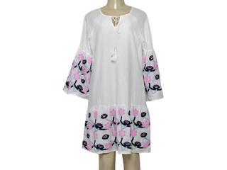 Vestido Feminino Miose 13212 Branco Estampado - Tamanho Médio