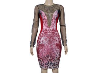Vestido Feminino Moikana 12007 Vermelho/preto - Tamanho Médio