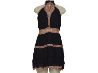 Vestido Feminino Moikana 16057 Preto/marrom - Tamanho Médio