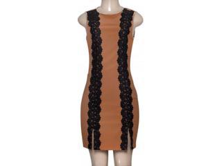 Vestido Feminino Moikana 180091 Caqui/preto - Tamanho Médio