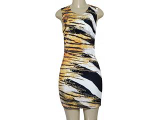 Vestido Feminino Moikana 180195c Preto/off White/amarelo - Tamanho Médio