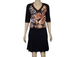 Vestido Feminino Moikana 180032 Preto/ocre - Tamanho Médio