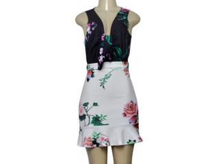 Vestido Feminino Moikana 230013 Preto/branco/floral - Tamanho Médio