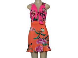 Vestido Feminino Moikana 230013 Pink/laranja - Tamanho Médio