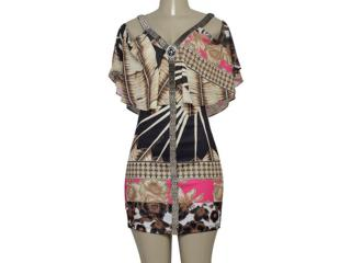 Vestido Feminino Moikana 230155 Bege/preto - Tamanho Médio